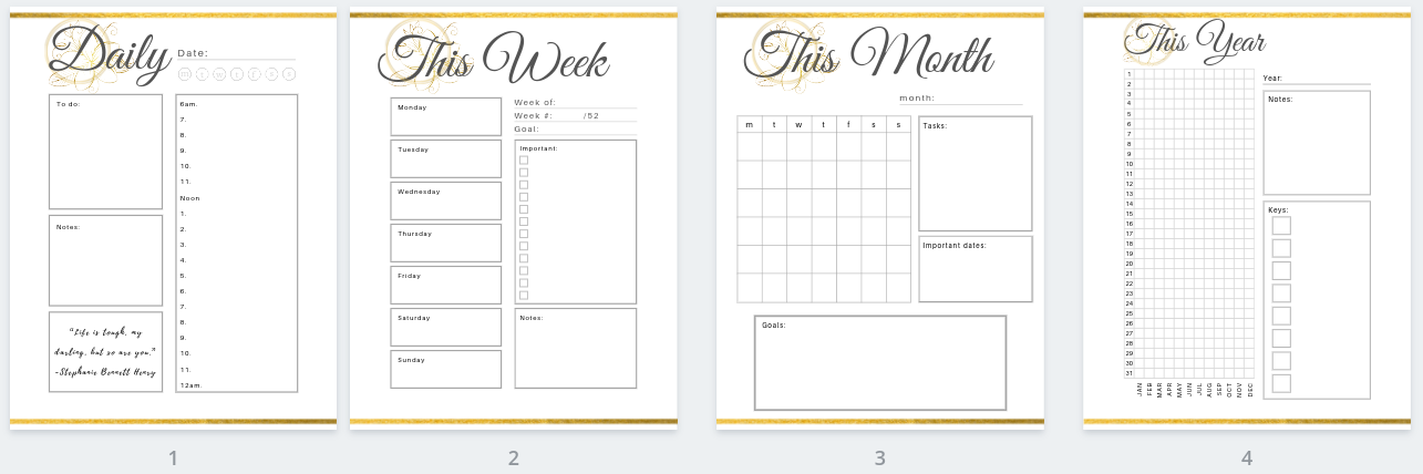 Gold Productivity Planner