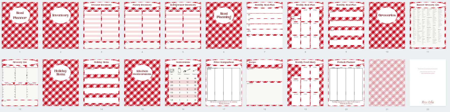 Red Gingham Menu Planner