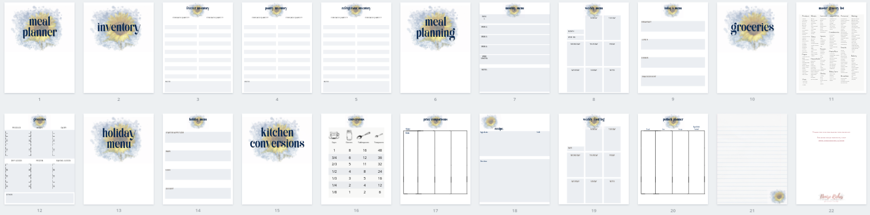 Sunflower Menu Planner