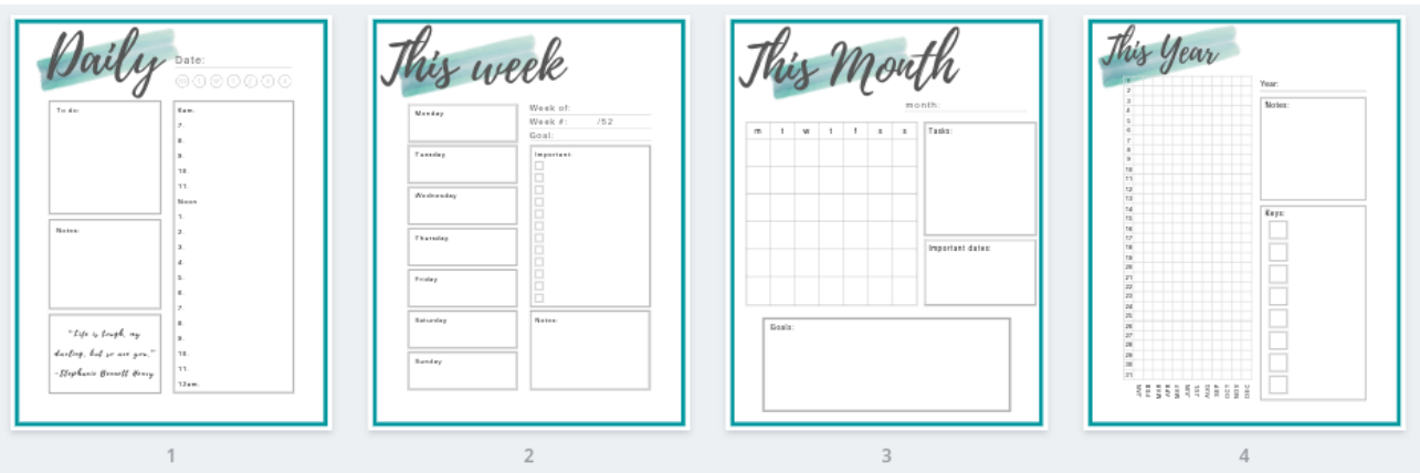 Turquoise Productivity Planner