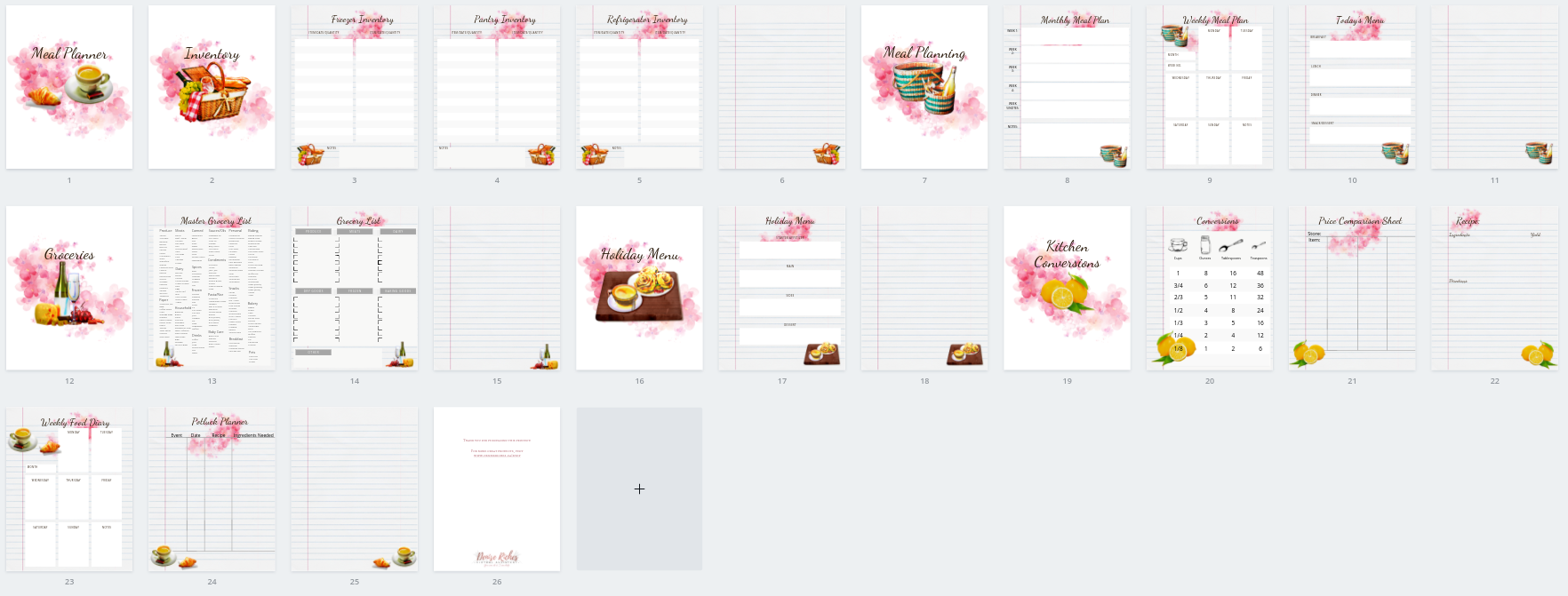 Watercolour Menu Planner